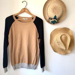 Madewell black tan colorblock waffle knit sweater
